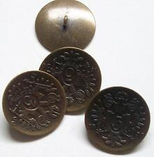 8pc 15mm Russian Czar Inspired Crested Antique Gold Military Button  2295