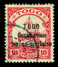 German Colonies - TOGO 1915 OCCUP. FRANCO-ANGLAISE Yacht 10pf red Sc# 166 - RARE