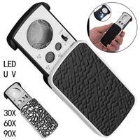 30/60/90X Pocket Magnifying Magnifier dei gioiellieri Vetro UV Lente LED con luc