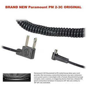 NEW Paramount PM 2-3C / Photography Sync Cable - PC Male to Household / Coiled