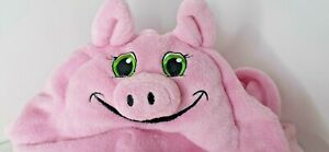 Comfy Critters Petunia Pig Hooded Blanket  Kids Nap Pink Chenille Soft New Pink