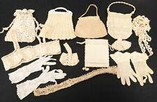 Lot Antique Vintage Lace Crochet Handbags Gloves Irish Lace Trim 11 Pcs