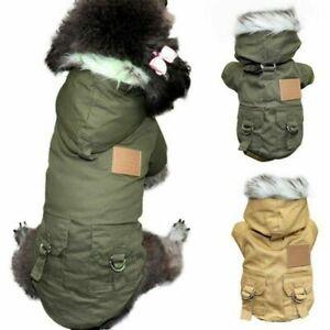 Pet Dog Winter Warm Fleece Lined Jacket Coat Hoodies Hooded Vest Clothes Apparel