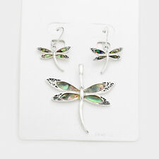 """Dragonfly Pendant Earrings SET Abalone Shell SILVER 2.2""""L Bird Insect Beach Fly"""