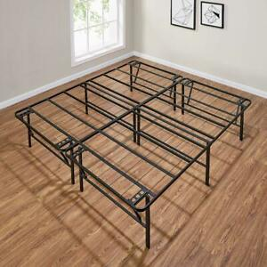 Foldable Bed Frame Steel High Profile Mattress Foundation Base Platform King 18""