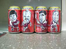 1 SET (4) QLD ORIGIN GREATS COCA COLA CANS