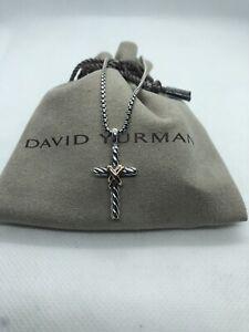"David Yurman X Cross Necklace With Gold 16/18"" Length"