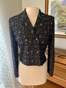 ST. JOHN Evening Jacket, Black Silver Knit Blazer, Embellished, Cropped, Small
