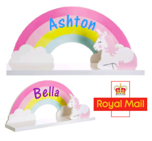 Sass & Belle Rainbow Unicorn Childrens Book Kids Room Wooden Shelf Personalised