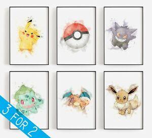 Pokemon Print Watercolour Childrens Bedroom Nursery Art Splatter Characters Gift