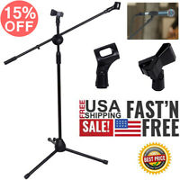 360°degree Rotating Microphone Stand Dual Mic Clip Boom Arm Foldable Tripod New