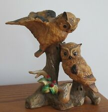Vintage Barn Owl Couple Pair Figurine Statue Taiwan Porcelain Tree Log Branch