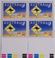 Stadspost Zaanstad 2000 - Blok van 4 Australia, Kangaroo met velrand, kleur