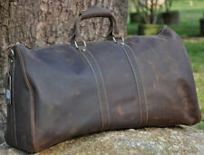 Men Real Leather Retro Designer Suitcase Fashion Travel Luggage Duffle Gym Bag
