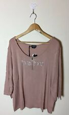 NWT bebe Top Blouse Pink Crystals Plus Size 3X Rhinestones