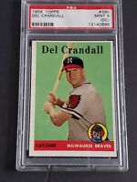 1958 Topps Del Crandall #390 Mint PSA 9 (OC) Milwaukee Braves