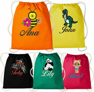 Personalised Embroidered Nutshell Gymsac Bag (RL300)- Swimming Sports School Bag