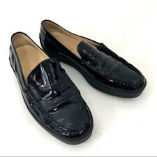 Tods Black Patent Leather Driving Shoes Mens 12 Moccasins EUC Flats