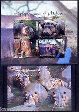 Hippo, Wild Animals, Malawi 2009 MNH MS + SS