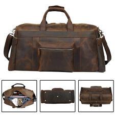 22 Vintage Men Overnight Leather Luggage Suitcase Duffle Gym Travel Shoulder Bag