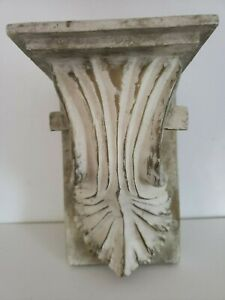 CERAMIC WALL SHELF SCONCE DISTRESSED WHITE/GOLD