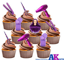 15 X púrpura Peluquería Tijeras formación Cabeza rodillos Mezcla Comestible Cake Toppers