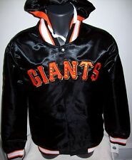 SAN FRANCISCO GIANTS Satin Jacket S M LG XL 2X BLACK ORANGE Removable Hood
