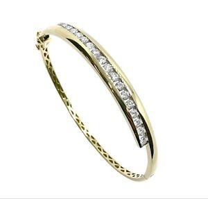 1.60ct Diamond 9ct Gold Hinged Bangle (VAL $4999)
