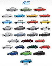 Ford RS Cars through the years large promo poster Capri Escort Sierra 200 Focus