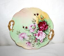 Antique Limoges A. Klingenberg Dwenger Hand Painted Two Handled Cake Plate 1910