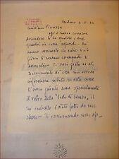 Lettera Autografa VITTORIO GUSSONI pittore a PINO GUZZARDELLA 1952 ARTE Sanremo