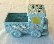 Vintage Ceramic Blue Truck Planter Music Box #C-2748 Japan - Item Plays!