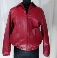 Preston and York Leather Jacket Coat Women Zip Extra Small Red Pockets ES #T664