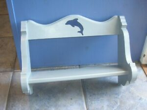 SALE upcycled Book Display Shelf Painted Grey Dolphin Cut-out 12in H 16.5in W