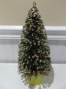 VTG SILVER GLITTER FLOCKED BOTTLE BRUSH CHRISTMAS TREE w/MERCURY GARLAND BALLS