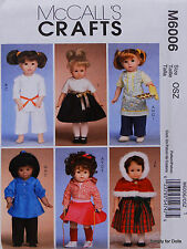 """McCall's 6006 Sewing PATTERN for 18"""" American Girl DOLL CLOTHES 6 Outfits NW OOP"""
