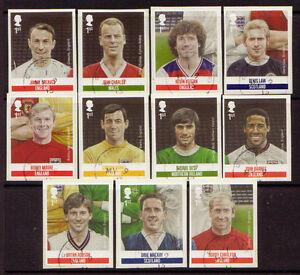 GREAT BRITAIN 2013 FOOTBALL HEROES SELF ADHESIVE SET OF 11 FINE USED