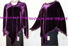 RABBIT FUR TRIM SILK VELVET PONCHO SHAWL TOP PLUM Maya Poncho
