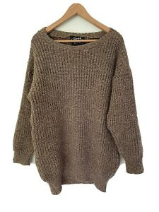 ROCKE GEAR oversized chunky knit jumper/dress mens XXL wool New Zealand brown