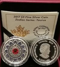 2017 Zodiac TAURUS $3 Pure Silver Proof Coin Canada with Crystal
