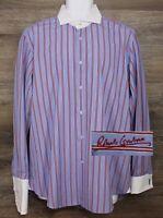 Robert Graham Men's Multicolor Stripe Long Sleeve Button Shirt w Flip Cuff L XL