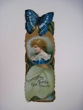 Vintage Victorian Bookmark w/ Gorgeous Butterfly & Verse From Bible *