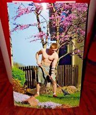 Shirtless Male Hunk Beefcake Lawn Boy Muscular Jock Raking Leaves PHOTO 4X6 F109