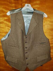 Custom Designer Made Beige Plaid Wool Vest, Grey back Size XL