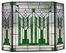 """38"""" Green Mission Style Stained Glass Fireplace Screen 3 piece Folding Decor"""