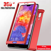 For Huawei Phones 360° Protective Hard Case Cover +Tempered Glass