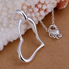 Women Fashion 925 Sterling Silver Chain Heart Beautiful Necklace With Pendant