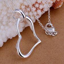 Moda De Mujer Plata De Ley 925 Cadena Corazón Bonito Collar Con Colgante