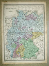 ALLEMAGNE Grande carte c1860 in-plano 82 x 60 cm - Dressée par A. H. DUFOUR