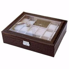 12 Slot Brown Leather Jewelry Watch Ring Box Case Glass Top Display Crocodile